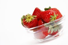 Fresh strawberries in glass bowl Stock Photography
