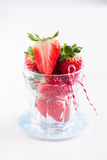 Fresh strawberries in glass Royalty Free Stock Image