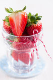 Fresh strawberries in glass Royalty Free Stock Images