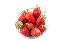 Fresh strawberries in a glass dish Stock Images