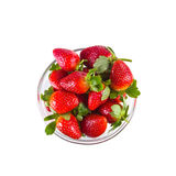 Fresh strawberries in glassy clear bowl Royalty Free Stock Photography
