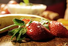 Fresh Strawberry in the Plate stock images