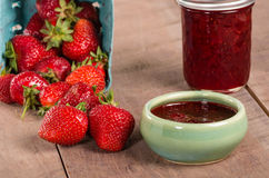 Fresh strawberries and homemade preserves Royalty Free Stock Photo