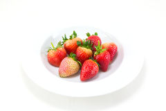 Fresh Strawberries. Isolated over white background Stock Photos