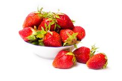 Fresh strawberries isolated on white Royalty Free Stock Images