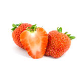 Fresh strawberries isolated on white background. Stock Photos