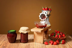 Fresh strawberries and jam in a jar Stock Photo
