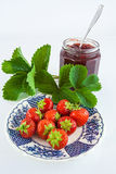 Fresh strawberries and jam Royalty Free Stock Images