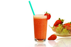 Fresh Strawberries Juice. Fresh Strawberries in a bowl and Juice on a white background Royalty Free Stock Image