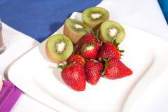 Fresh strawberries and kiwifruit Royalty Free Stock Image