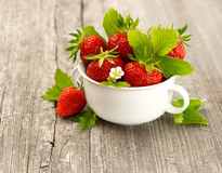 Fresh strawberries with leaves and flowers Stock Photography