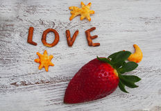 Fresh strawberries  and love inscription. Spain Royalty Free Stock Images