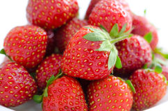 Fresh strawberries, macro stock image