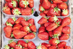 Fresh strawberries on a market in Italy Royalty Free Stock Photos