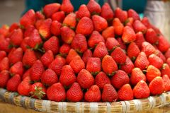 Fresh strawberries on the market. In Nepal Stock Images