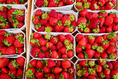 Fresh strawberries at the market. View from above Stock Photo