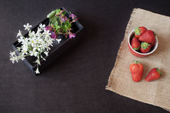 Fresh strawberries in mini red bowl on hessian jute. White and purple flowers in a decorative wooden crate. Black background. Royalty Free Stock Photo