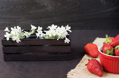Fresh strawberries in mini red bowl on hessian jute. White and purple flowers in a decorative wooden crate. Black background Stock Photos