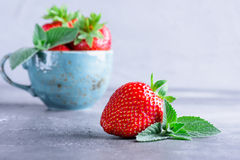 Fresh strawberries and mint Royalty Free Stock Photography