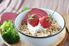 Fresh Strawberries in Muesli Bowl Stock Images