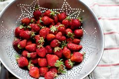 Fresh Strawberries in Old Metal Colander Royalty Free Stock Image