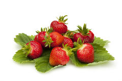Fresh strawberries over white Stock Images