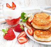 Fresh strawberries  pancakes and yogurt Royalty Free Stock Photo