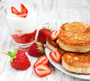 Fresh strawberries  pancakes and yogurt Stock Photo