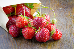 Fresh strawberries in a paper bag Royalty Free Stock Photography