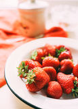 Fresh strawberries in plate Stock Photo