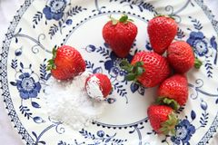 Fresh strawberries on plate Stock Image