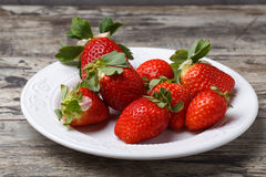 Fresh strawberries on a plate Royalty Free Stock Image