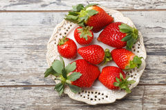 Fresh strawberries on a plate Stock Images
