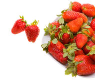 Fresh strawberries on a platter isolated on white Royalty Free Stock Photo
