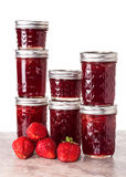 Fresh strawberries preserved in jars Royalty Free Stock Images