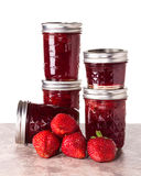 Fresh strawberries preserved in jars Royalty Free Stock Image