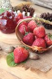Fresh strawberries red at delicious and jam. Royalty Free Stock Images
