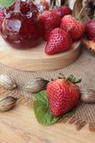 Fresh strawberries red at delicious and jam. Royalty Free Stock Photo