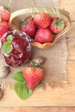 Fresh strawberries red at delicious and jam. Royalty Free Stock Photos