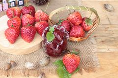 Fresh strawberries red at delicious and jam. Stock Image