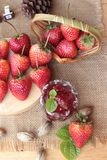 Fresh strawberries red at delicious and jam. Royalty Free Stock Image