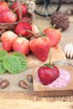 Fresh strawberries red at delicious and plum powder. Stock Photography