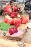 Fresh strawberries red at delicious and plum powder. Stock Photos