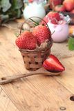 Fresh strawberries red and yogurt at delicious. Stock Image