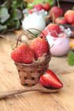 Fresh strawberries red and yogurt at delicious. Royalty Free Stock Photo