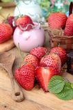 Fresh strawberries red and yogurt at delicious. Royalty Free Stock Photography