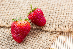 Fresh strawberries on sack Royalty Free Stock Photo