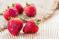Fresh strawberries on sack Royalty Free Stock Photography