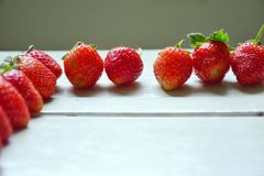 Fresh strawberries. Fresh strawberries set in row Stock Photography