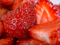 Fresh Strawberries, sliced and Royalty Free Stock Photo